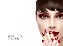 Beauty and Makeup concept. Fashion Make-up and Nails in Burgundy Royalty Free Stock Image