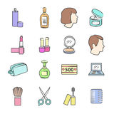Beauty and makeup cosmetic icons. Vector illustration. Stock Photos
