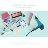 Beauty and makeup cosmetics pattern with make up artist objects lipstick, nail, perfumes, eye shadows, brushes, mascara Royalty Free Stock Photos