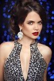Beauty makeup. Fashion jewelry. Women portrait. Elegant lady wit Royalty Free Stock Photo