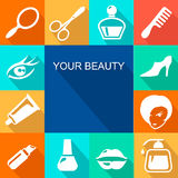 Beauty and makeup flat icons Royalty Free Stock Photography