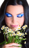 Beauty makeup girl. Portrait of Beauty makeup girl with closed eyes and flowers Royalty Free Stock Photography
