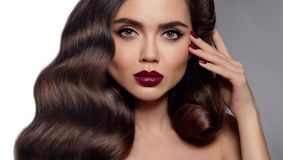 Beauty makeup. Glamour woman face close up. Manicured nails. Hea Royalty Free Stock Photography