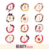 Beauty and makeup icon set. Concept image poster Stock Images