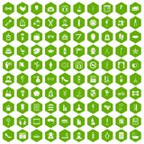 100 beauty and makeup icons hexagon green. 100 beauty and makeup icons set in green hexagon isolated vector illustration Stock Images