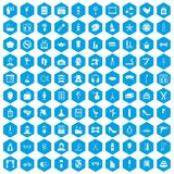 100 beauty and makeup icons set blue. 100 beauty and makeup icons set in blue hexagon isolated vector illustration Stock Illustration