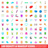 100 beauty and makeup icons set, cartoon style. 100 beauty and makeup icons set in cartoon style for any design vector illustration vector illustration