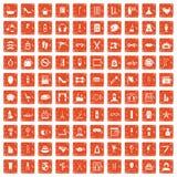 100 beauty and makeup icons set grunge orange. 100 beauty and makeup icons set in grunge style orange color isolated on white background vector illustration Stock Photography