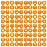 100 beauty and makeup icons set orange. 100 beauty and makeup icons set in orange circle isolated on white vector illustration stock illustration