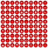 100 beauty and makeup icons set red. 100 beauty and makeup icons set in red circle isolated on white vector illustration Stock Images