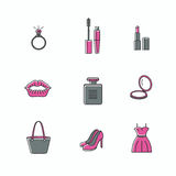 Beauty and makeup icons - set of signs related to women. stock image