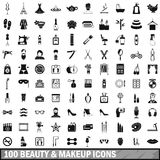 100 beauty and makeup icons set in simple style. For any design vector illustration stock illustration