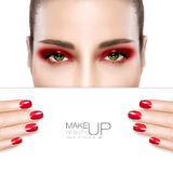 Beauty Makeup and Nail Art Concept Stock Photography