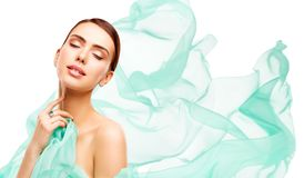 Beauty Makeup Skin Care, Woman Touching Neck Face stock photo