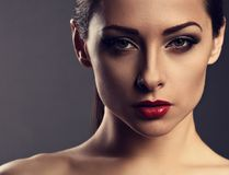 Beauty makeup woman with perfect skin, red sexy lipstick, smokey Royalty Free Stock Photos