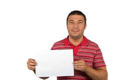 Beauty male with blank page. Beauty young male holding a blank page isolated on white background,copyspace in right part of image also for your text message Stock Photo