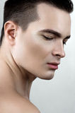 Beauty male with drops on face Royalty Free Stock Images