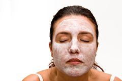 Beauty Mask. Woman with beauty mask. Isolated on white background Stock Images