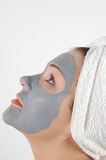 Beauty mask #18. Attractive wiman in blue beauty mask Royalty Free Stock Photography