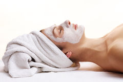 Beauty mask. Woman relaxing with beauty mask Royalty Free Stock Images