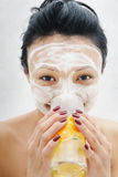 Beauty mask and juice Royalty Free Stock Photo
