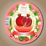Beauty mask pomegranate label sticker vector illustration