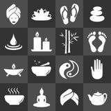 Beauty Massage Spa Icon Set - Bamboo, Feet, Meditation, Tea, Relax, Balance, Cosmetic Royalty Free Stock Image