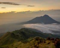The beauty of the Merbabu Mountain shape stock photography