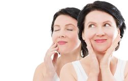 Beauty middle age woman collage face portrait. Spa and anti aging concept Isolated on white background. Plastic surgery. And collagen face injections. Wrinkles royalty free stock photo