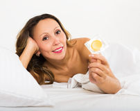 Beauty middle-aged woman with contraceptive Stock Image
