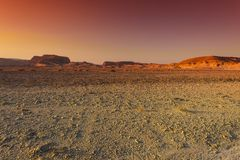 The beauty of the Middle East. Colorful rocky hills of the Negev Desert in Israel. Breathtaking landscape and nature of the Middle East at sunset Royalty Free Stock Photos