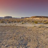 The beauty of the Middle East. Colorful rocky hills of the Negev Desert in Israel. Breathtaking landscape and nature of the Middle East at sunset royalty free stock images