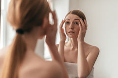 Beauty in mirror reflection. Royalty Free Stock Photography