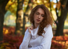 Beauty model dreaming in autumn park Stock Images