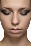 Beauty model face with fashion visage. Glamour make-up with perfect eyebrows Royalty Free Stock Image