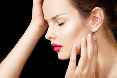 Beauty model face with perfect make-up, pure skin Stock Photos