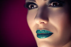 Beauty Model Face with Turquoise Makeup Royalty Free Stock Photos