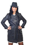 Beauty model female in leather jacket stock photography