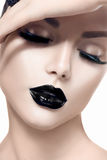Beauty model girl with black makeup royalty free stock photos