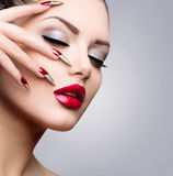 Beauty Model Girl. Fashion Beauty Model Girl. Manicure and Make-up Stock Image
