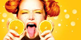 Beauty model girl with juicy oranges Royalty Free Stock Photos