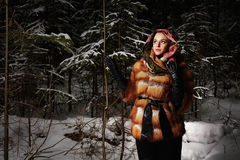 Beauty model girl in night winter forest. beautiful young Woman in fashionable Fur Coat and scarf Stock Images