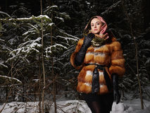 Beauty model girl in night winter forest. beautiful young Woman in fashionable Fur Coat and scarf Royalty Free Stock Photo