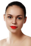 Beauty model girl with perfect make-up isolated over white. Port Royalty Free Stock Images