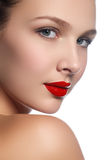 Beauty model girl with perfect make-up isolated over white. Port Stock Photos