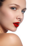 Beauty model girl with perfect make-up isolated over white. Port Royalty Free Stock Photo