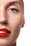 Beauty model girl with perfect make-up isolated over white. Port Royalty Free Stock Photography