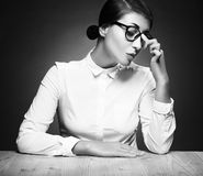 Beauty model girl in sexy glasses. Young Teacher brunette woman Royalty Free Stock Image