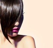 Beauty model girl with stylish fringe. Beauty model girl with fashion haircut. Stylish fringe stock images