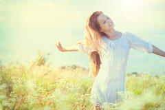 Beauty model girl in white dress Stock Image